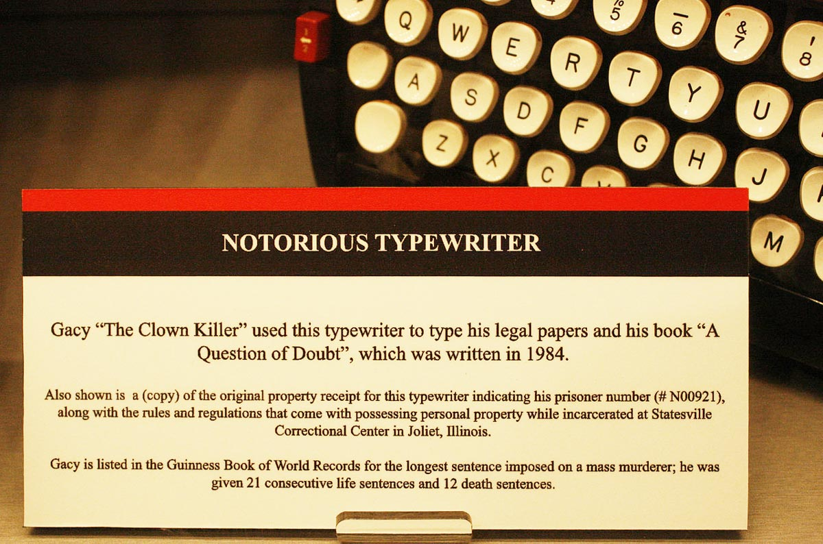 "John Wayne Gacy's typewriter with which he wrote his book ""A Question of Doubt"" in 1984."