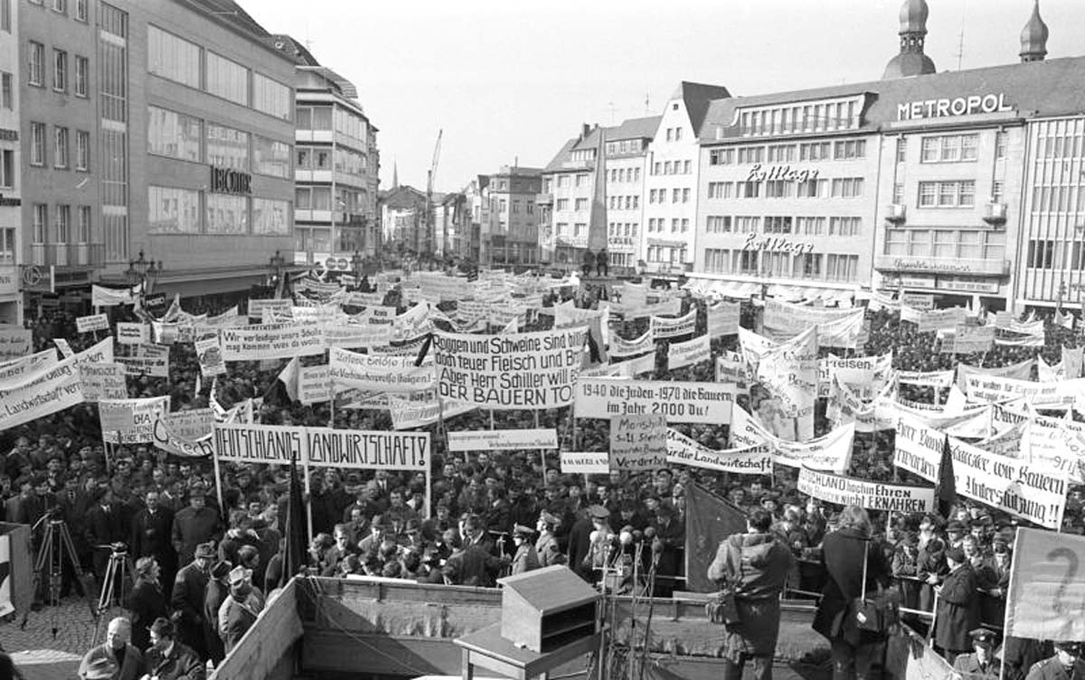 Bauernproteste in Bonn gegen die Europäische Agrarpolitik in 1971