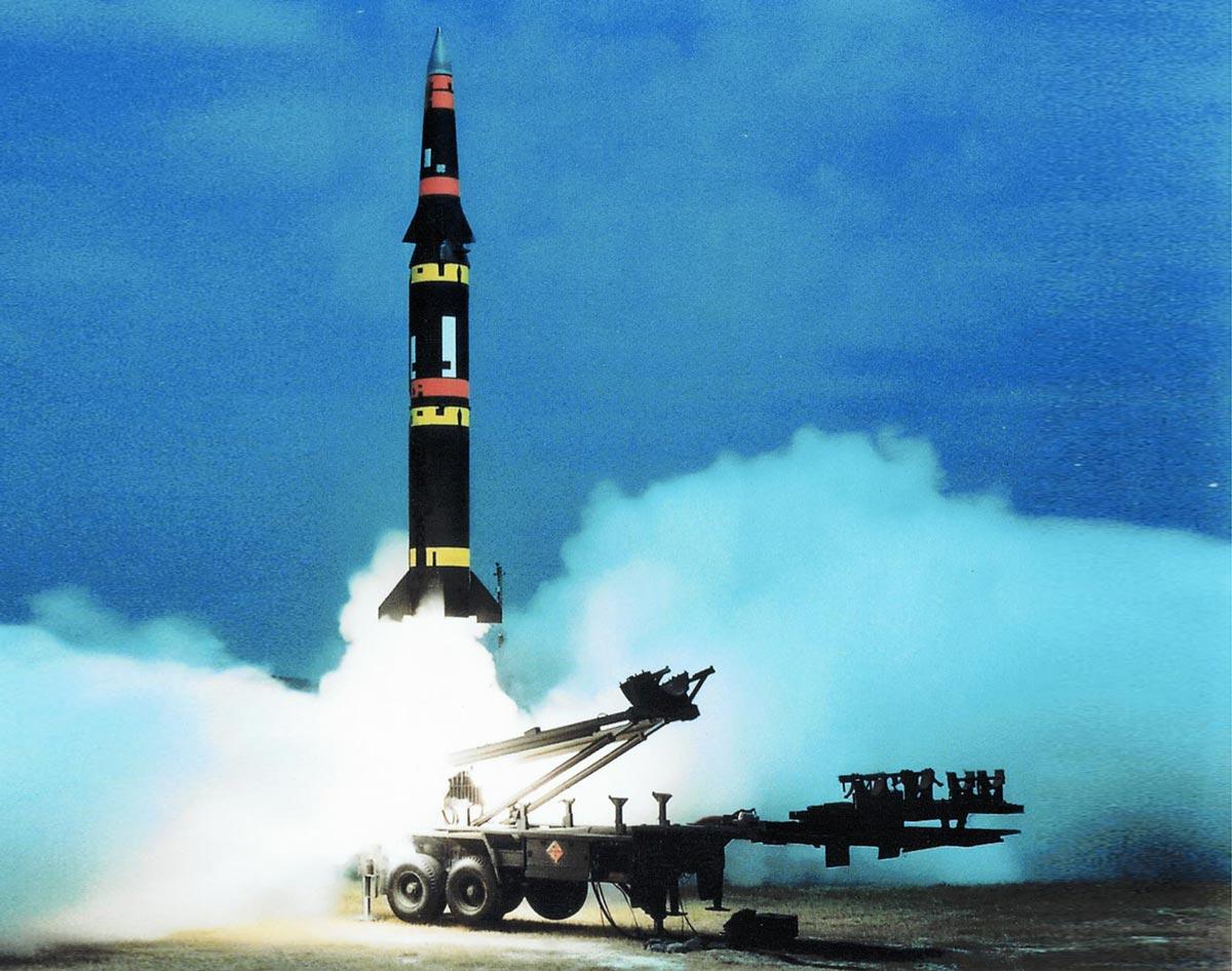Start einer Pershing-II-Rakete