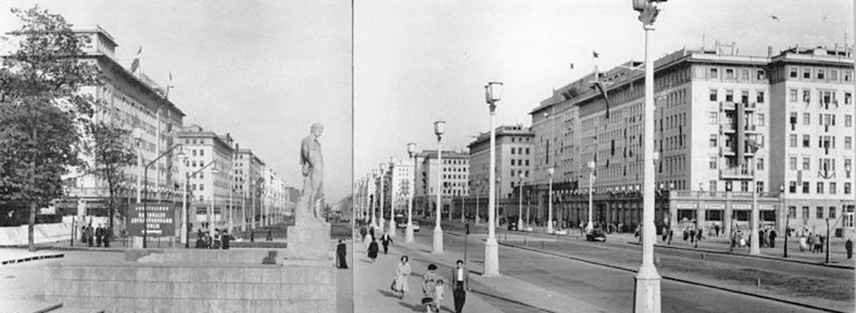 Die Karl-Marx-Allee in Ost-Berlin als Schauplatz des großen Volksaufstands in der DDR in 1953