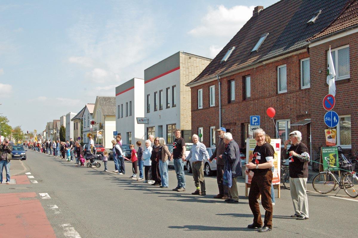Menschenkette gegen Atomkraft im Jahr 2010