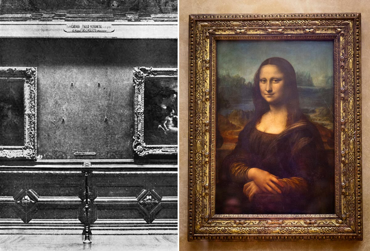 The Mona Lisa was missing from the wall in the Louvre when it was stolen in 1911