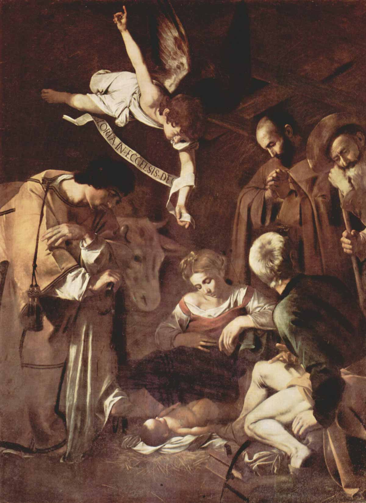 The painting by Michelangelo Merisi da Caravaggio: Nativity with St. Francis and St. Lawrence
