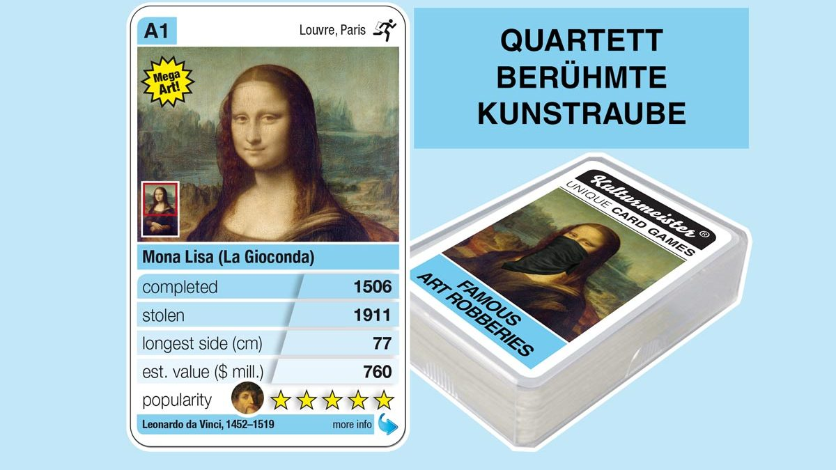 cardgame famous art robberies: playing card A1 with facts to the art robbery of Da Vinci: Mona Lisa (La Gioconda) (1506)
