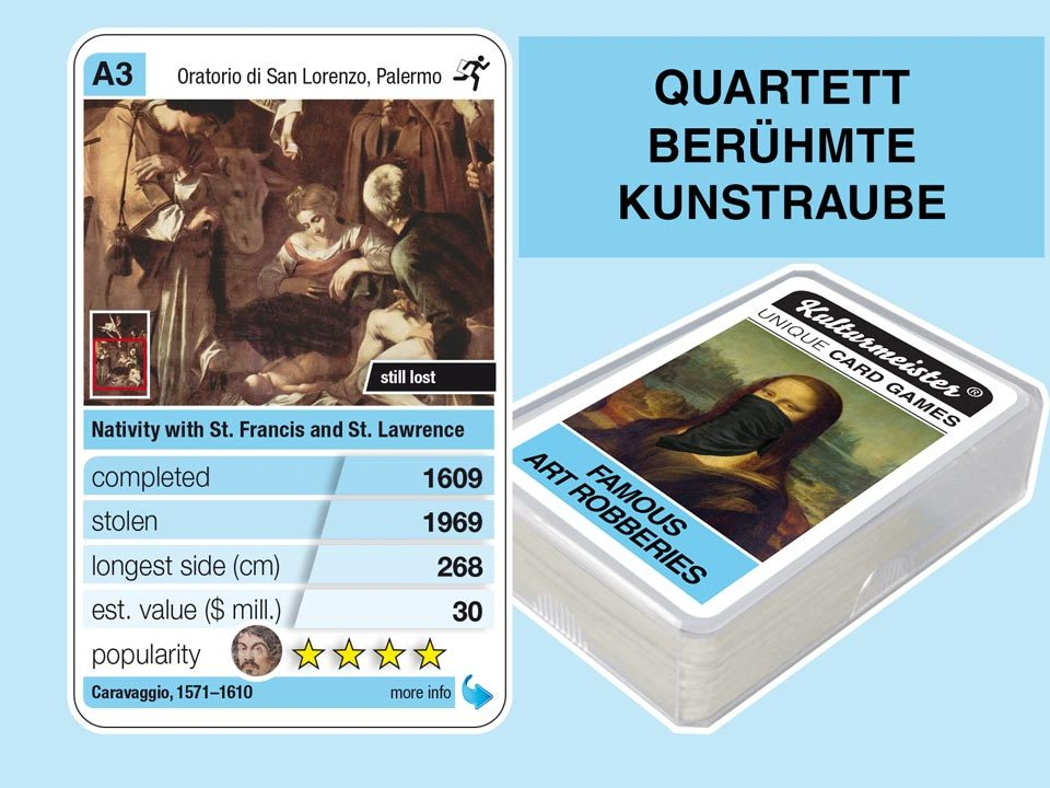 cardgame famous art robberies: playing card A3 with facts to the art robbery of Caravaggio: Nativity with St. Francis and St. Lawrence (1609)