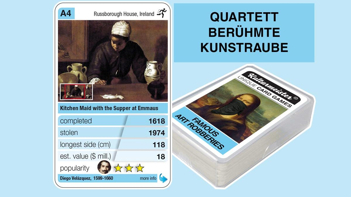 cardgame famous art robberies: playing card A4 with facts to the art robbery of Velázquez: La mulata (1618)