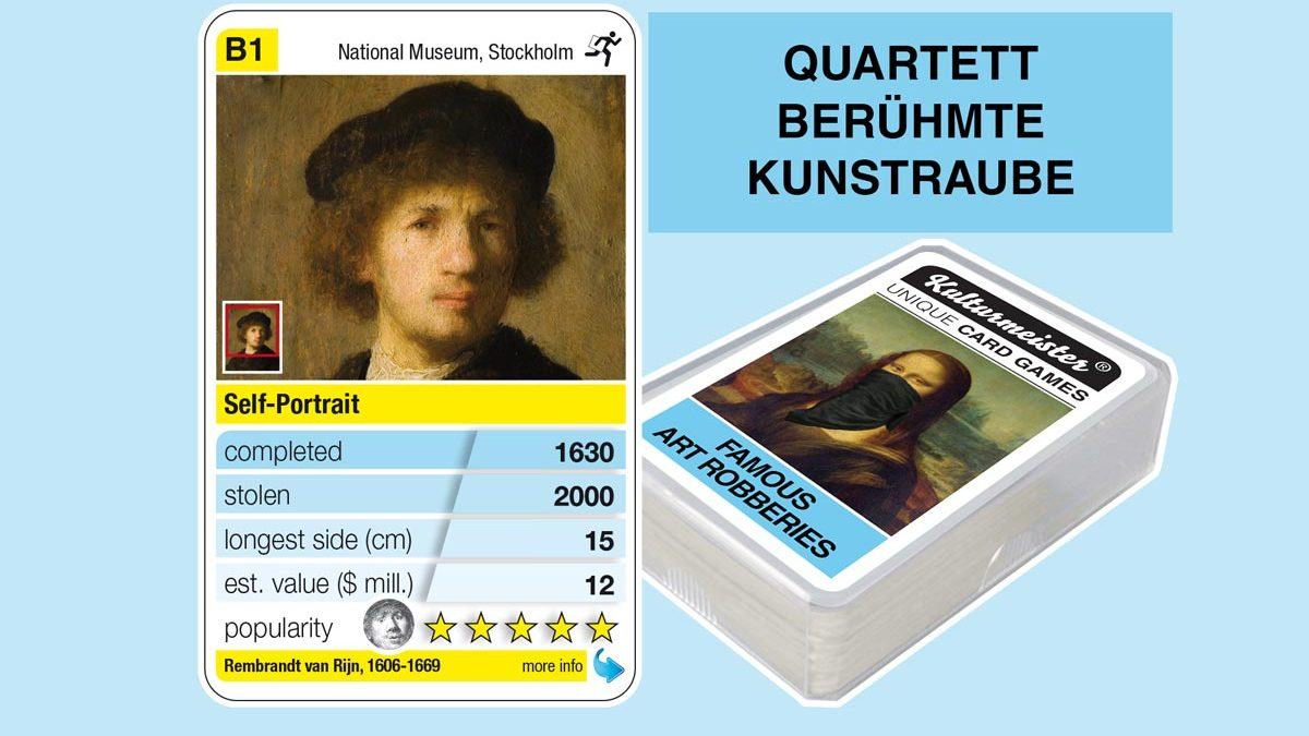 cardgame famous art robberies: playing card B1 with facts to the art robbery of Rembrandt: Self Portrait (1630)