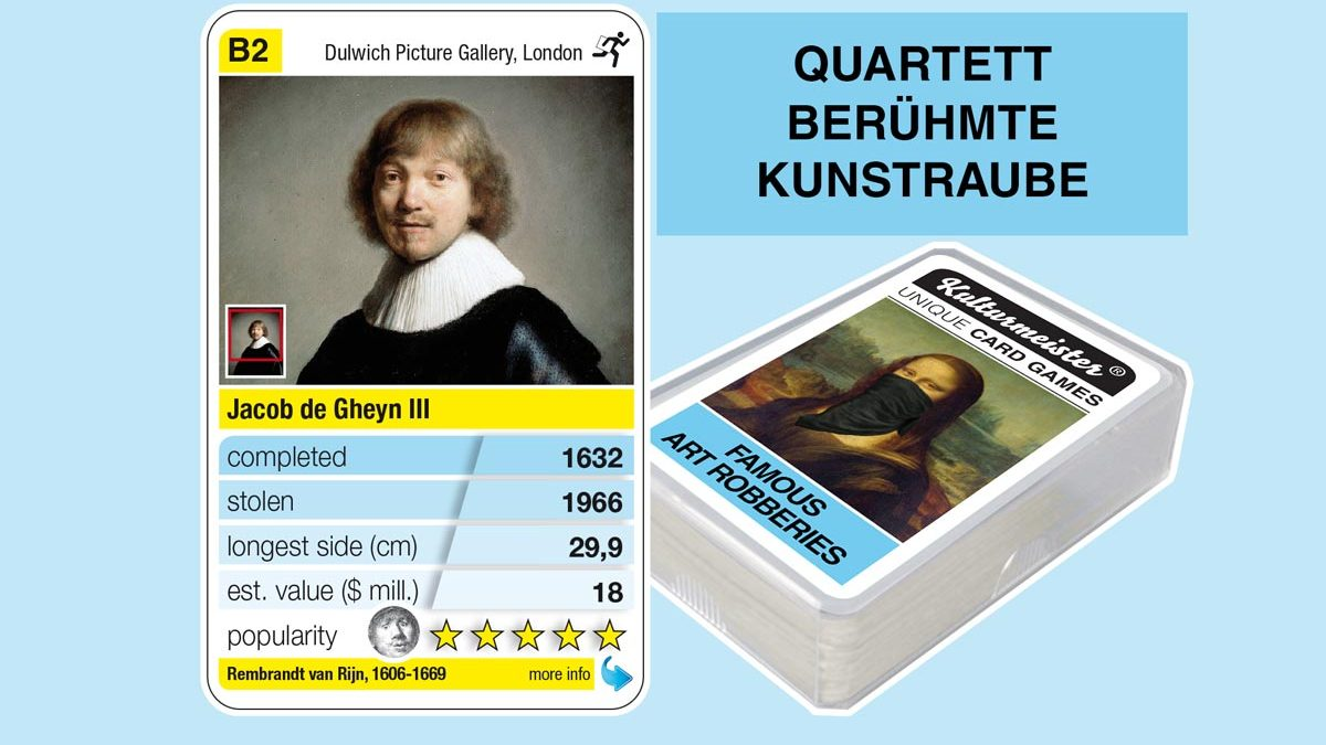 cardgame famous art robberies: playing card B2 with facts to the art robbery of Rembrandt: Jacob de Gheyn III (1632)