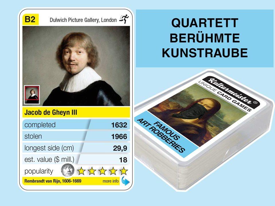 Quartettspiel Berühmte Kunstraube: Spielkarte B2 mit Daten und Fakten zum Kunstraub Rembrandt: Jacob de Gheyn III (1632)