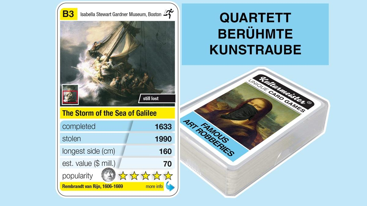 cardgame famous art robberies: playing card B3 with facts to the art robbery of Rembrandt: The Storm on the Sea of Galilee (1633)