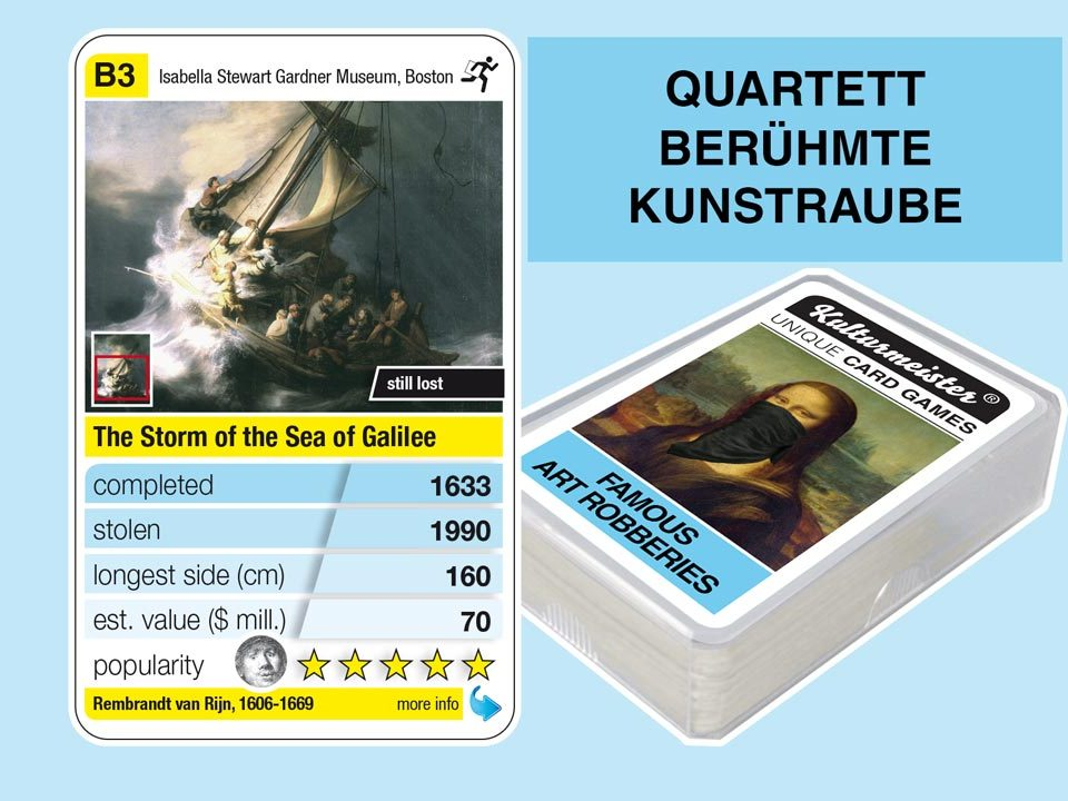 Quartettspiel Berühmte Kunstraube: Spielkarte B3 mit Daten und Fakten zum Kunstraub Rembrandt: Christus im Sturm auf dem See Genezareth (1633)