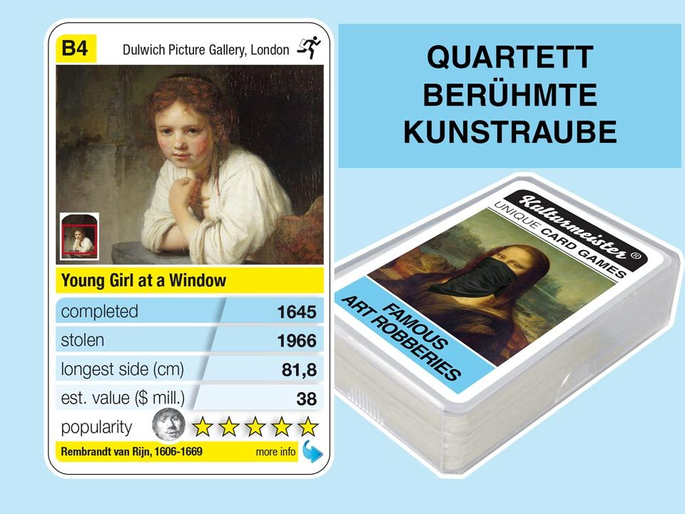 cardgame famous art robberies: playing card B4 with facts to the art robbery of Rembrandt: Girl at a Window (1645)