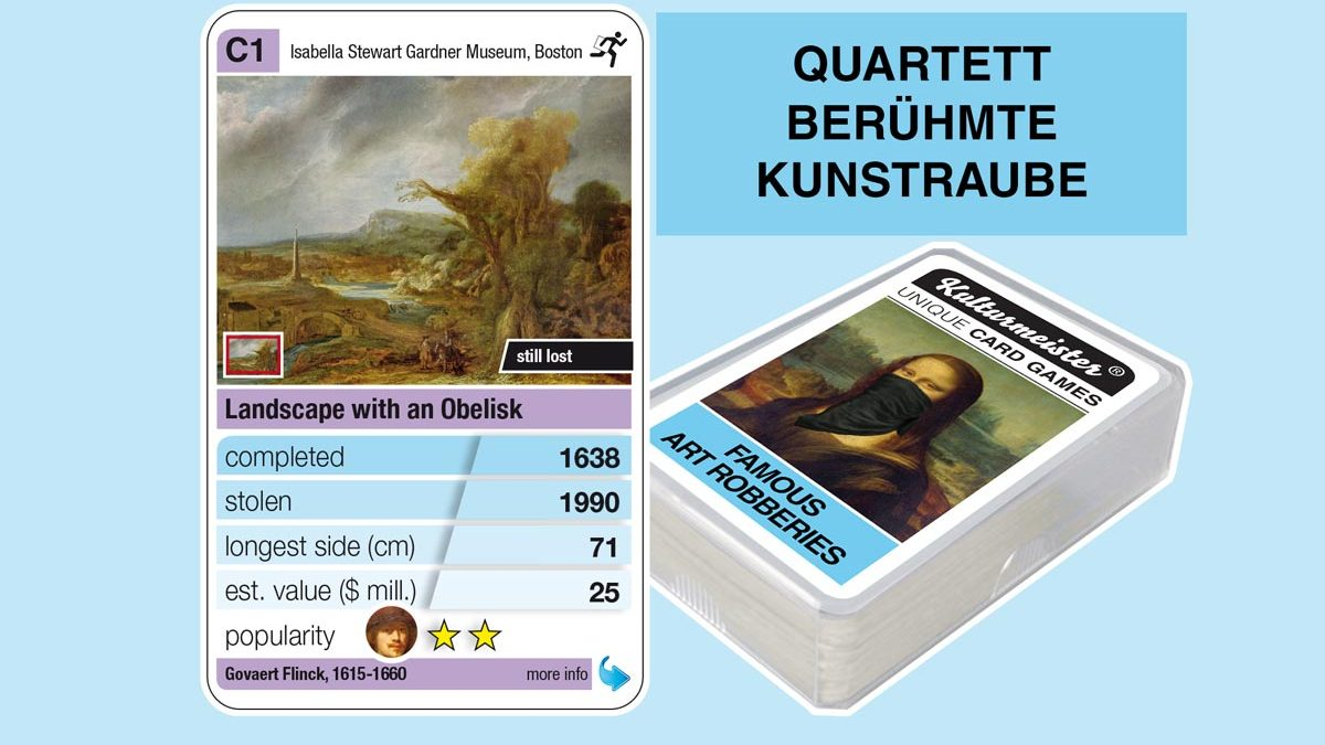 cardgame famous art robberies: playing card C1 with facts to the art robbery of Govaert Flinck: Landscape with Obelisk (1638)