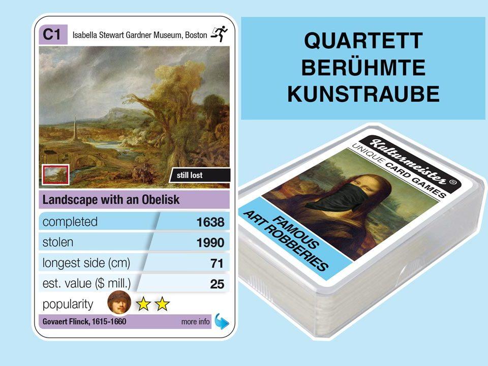 Quartettspiel Berühmte Kunstraube: Spielkarte C1 mit Daten und Fakten zum Kunstraub Govaert Flinck: Landschaft mit Obelisk (1638)