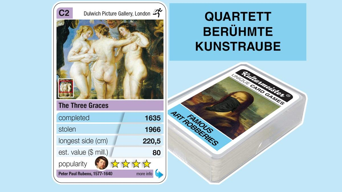 cardgame famous art robberies: playing card C2 with facts to the art robbery of Paul Rubens: The Three Graces (1635)