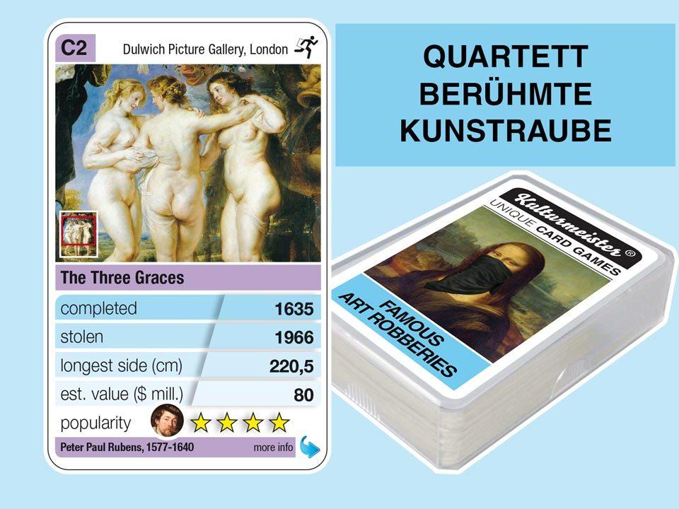 Quartettspiel Berühmte Kunstraube: Spielkarte C2 mit Daten und Fakten zum Kunstraub Paul Rubens: Die Drei Grazien (1635)