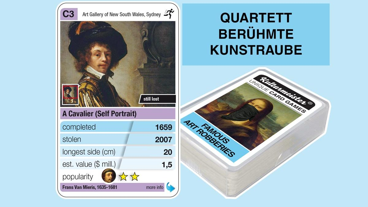 cardgame famous art robberies: playing card C3 with facts to the art robbery of Frans Van Mieris: A Cavalier (Sellf Portrait, 1659)