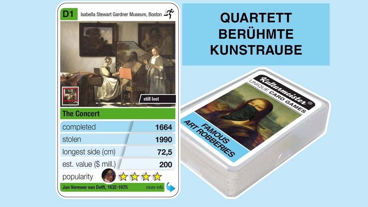 cardgame famous art robberies: playing card D1 with facts to the art robbery of Jan Vermeer: The Concert (1664)