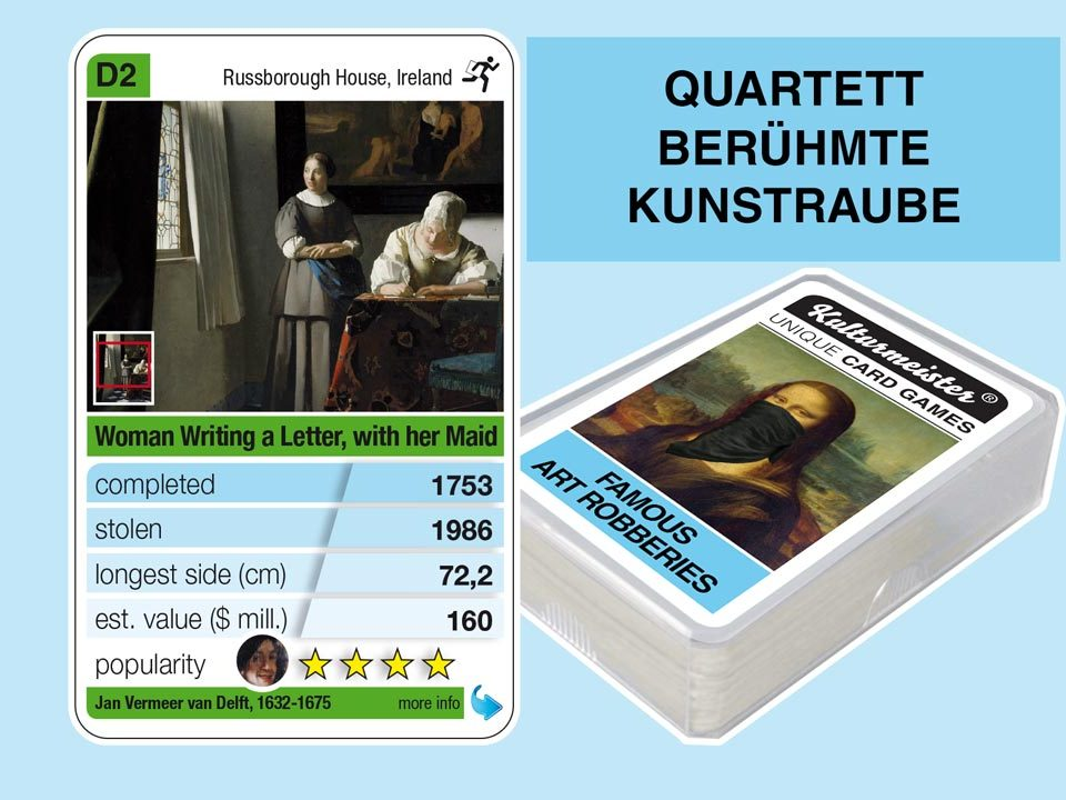 cardgame famous art robberies: playing card D2 with facts to the art robbery of Jan Vermeer: Lady Writing a Letter with her Maid (1671)