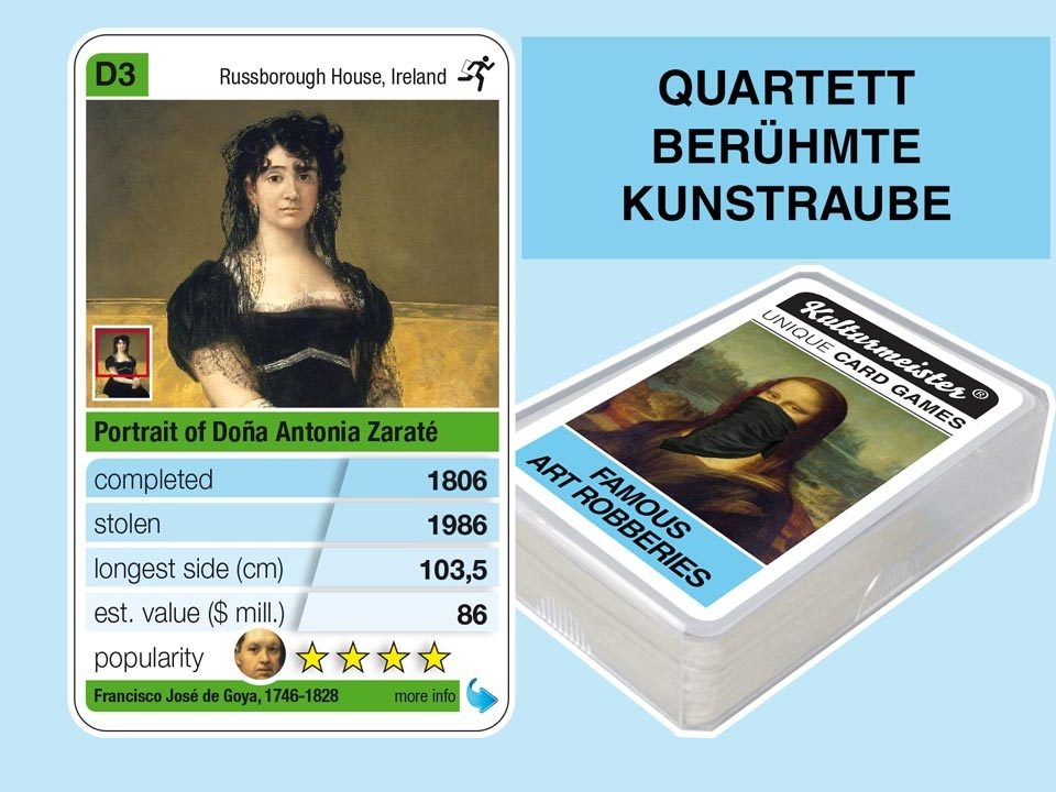 cardgame famous art robberies: playing card D3 with facts to the art robbery of Goya: Portrait of Dona Antonia Zaraté (1806)