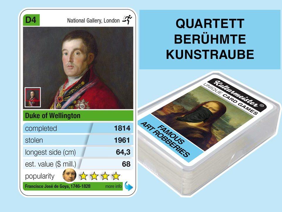 Quartettspiel Berühmte Kunstraube: Spielkarte D4 mit Daten und Fakten zum Kunstraub Goya: Herzog von Wellington (1814)