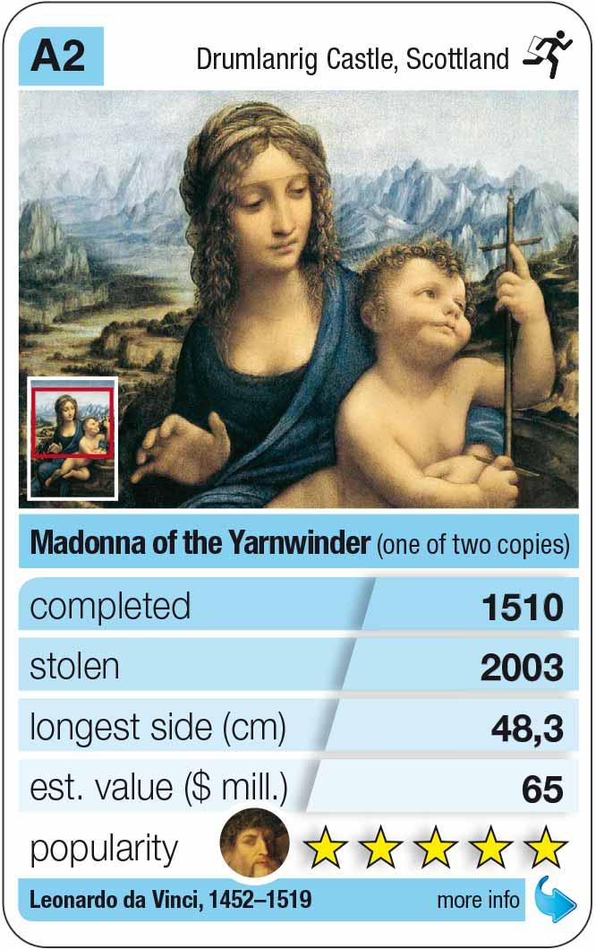 playing card A2:  Da Vinci: Madonna of the Yarnwinder