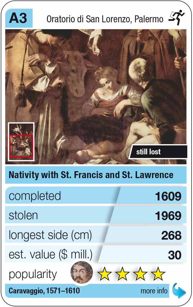 playing card A3:  Caravaggio: Nativity with St. Francis and St. Lawrence