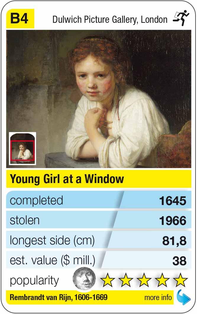 Spielkarte B4:  Rembrandt: Junges Mädchen am Fenster (1645)