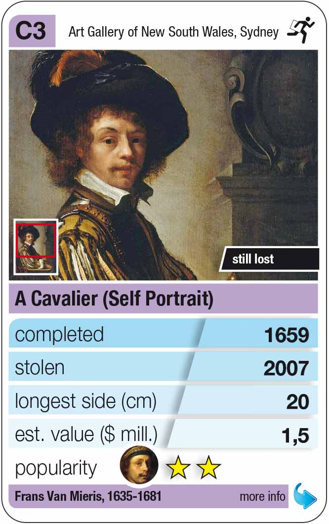 playing card C3:  Frans Van Mieris: A Cavalier (1659)