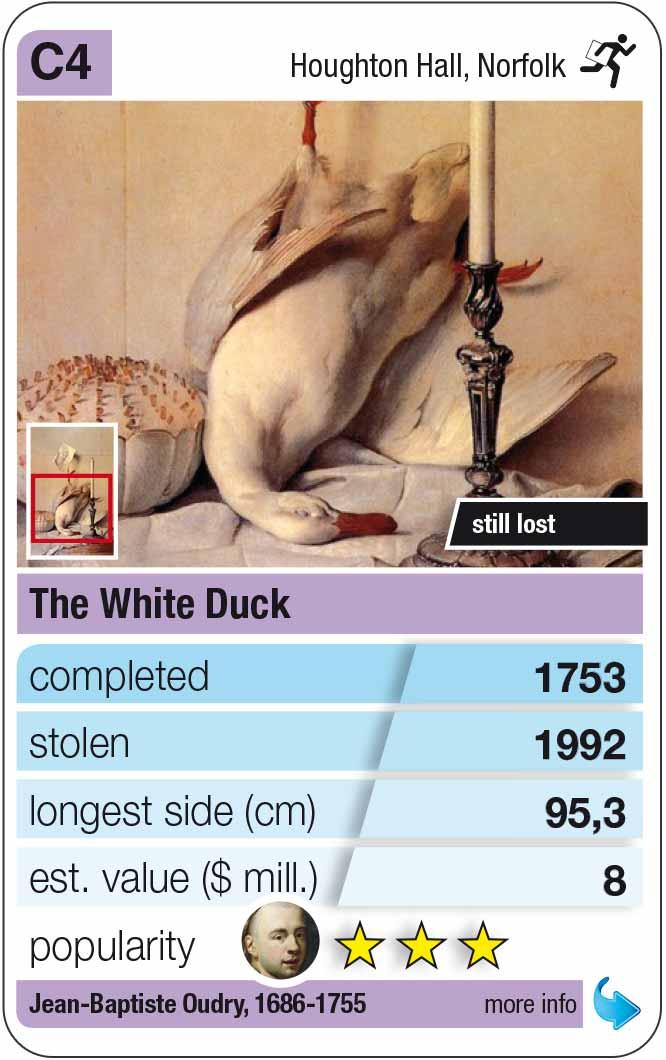 Spielkarte C4:  Jean-Baptiste Oudry: Stillleben mit weißer Ente (1753)