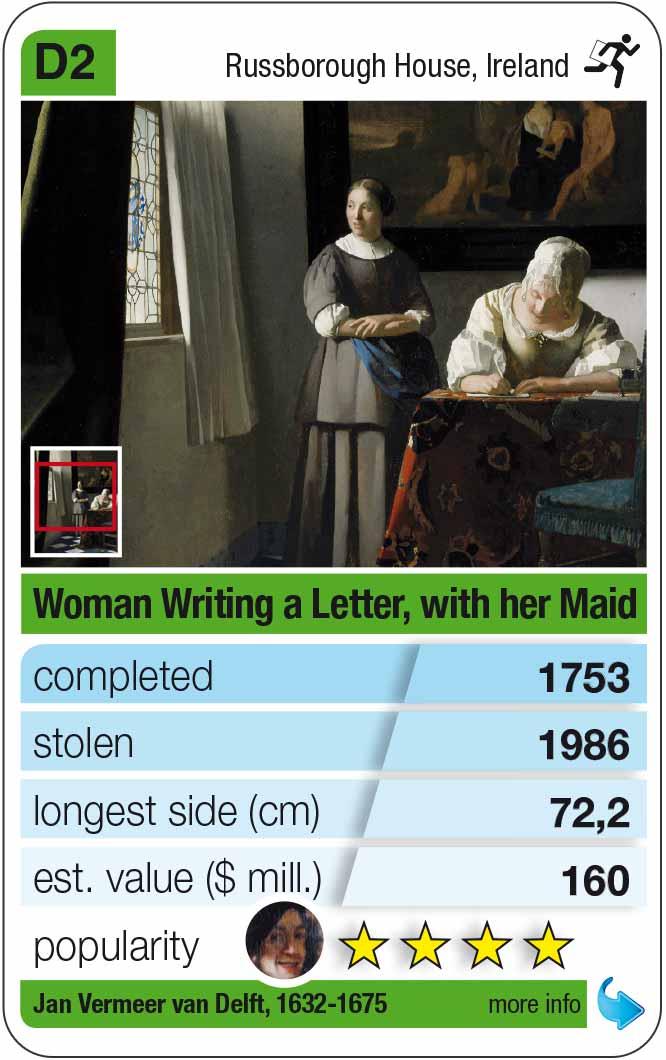 Spielkarte D2: Jan Vermeer: Briefschreibende Dame mit ihrer Zofe (1671)