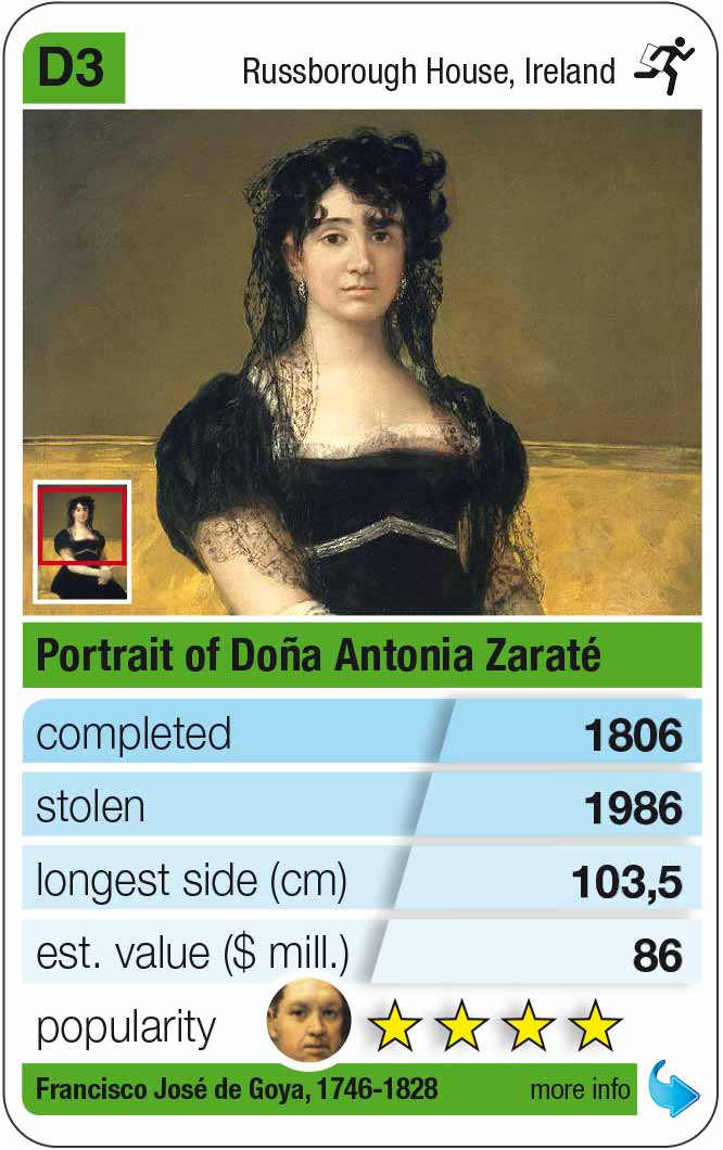 playing card D3: Goya: Portrait of Doña Antonia Zárate (1806)