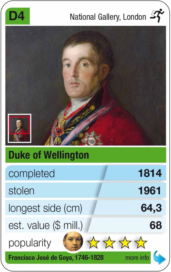 playing card D4: Goya: Portrait of the Duke of Wellington (1814)