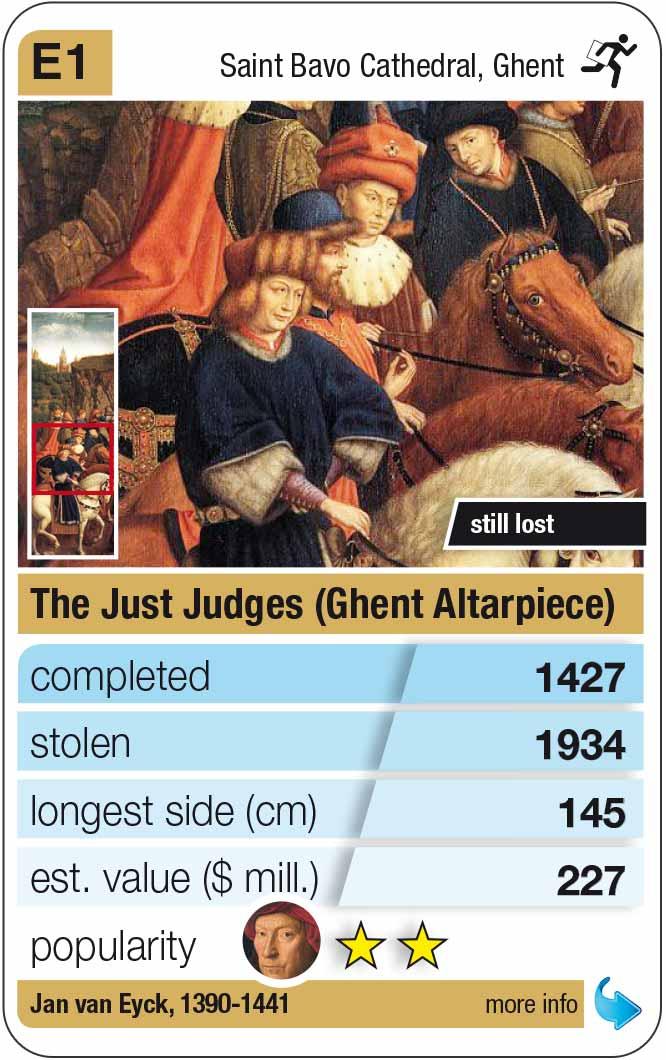 Spielkarte E1: Van Eyck: Die gerechten Richter (Genter Altar, 1427)