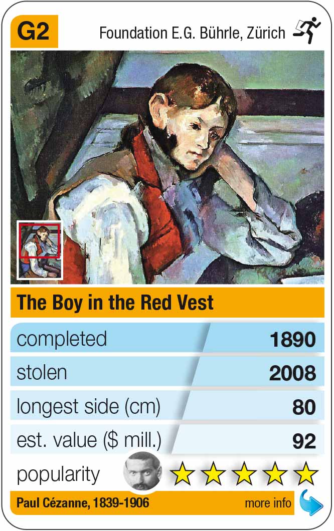 playing card G2: Paul Cézanne: The boy in the red vest (1890)