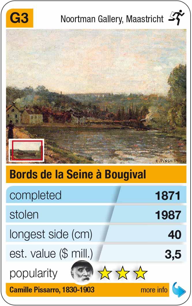 playing card G3: Camille Pissarro: Bords de la Seine à Bougival (1871)