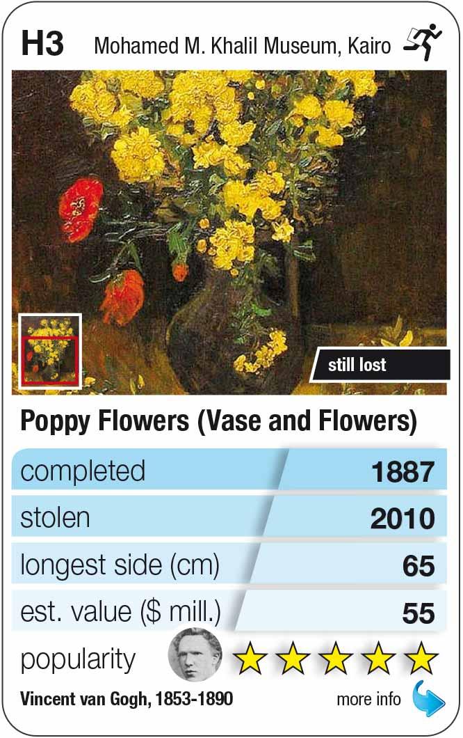 playing card H3: Van Gogh: Poppy Flowers (1887)