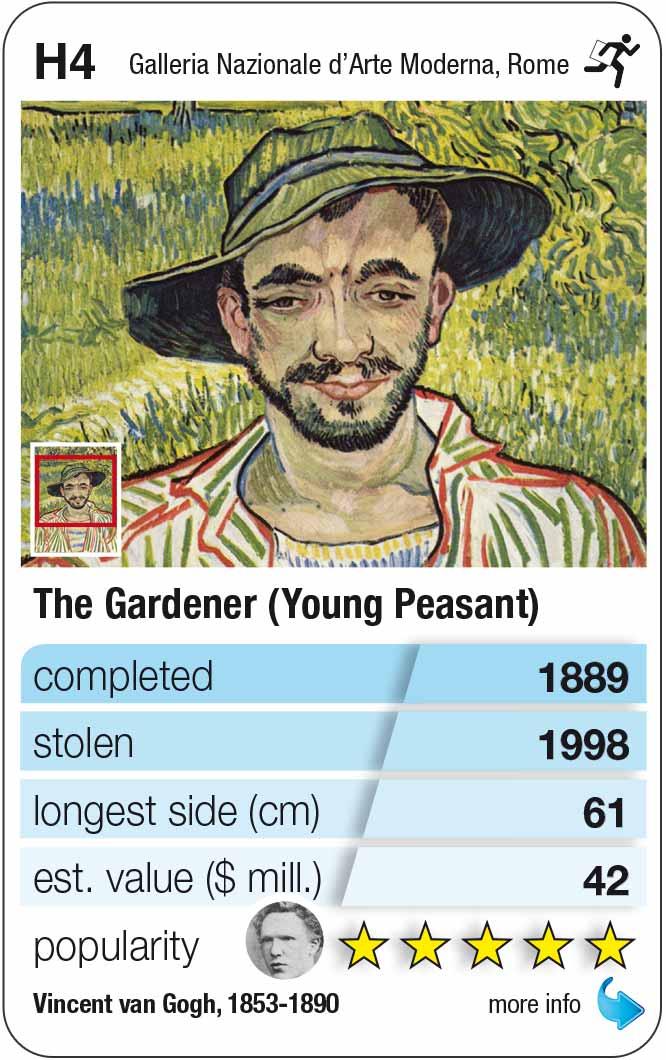 Spielkarte H4: Van Gogh: Der Gärtner (Young peasant, 1889)