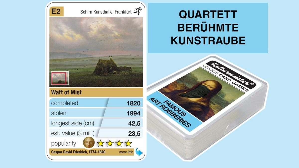 cardgame famous art robberies: playing card E2 with facts to the art robbery of Caspar David Friedrich: Nebelschwaden (1820)