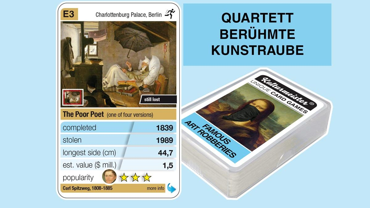 cardgame famous art robberies: playing card E3 with facts to the art robbery of Carl Spitzweg: The Poor Poet (1839)