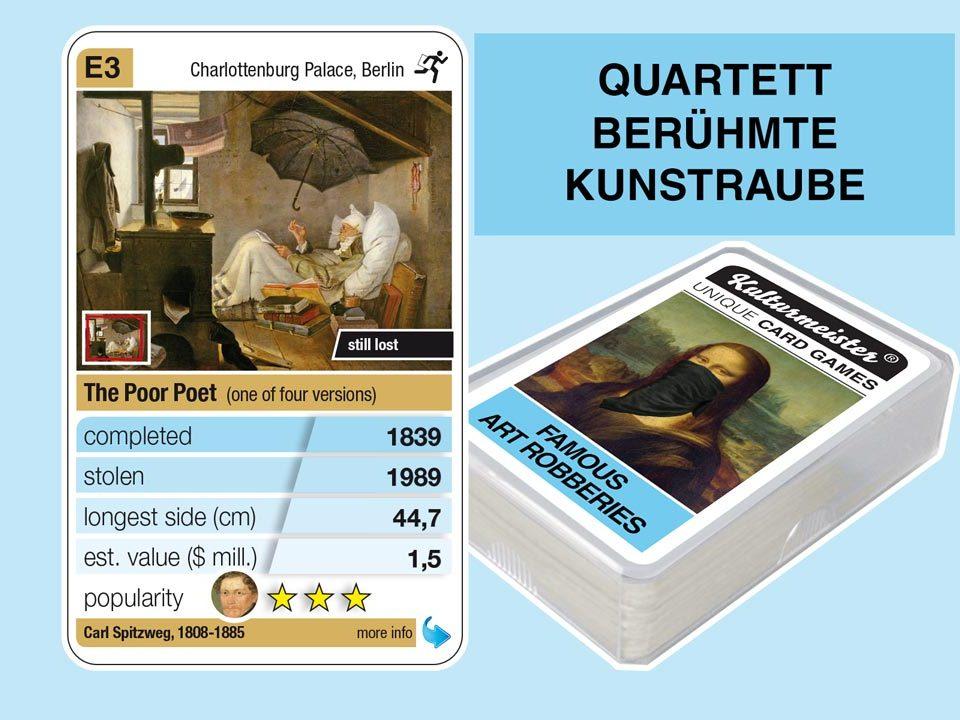 Quartettspiel Berühmte Kunstraube: Spielkarte E3 mit Daten und Fakten zum Kunstraub Carl Spitzweg: Der arme Poet (1839)