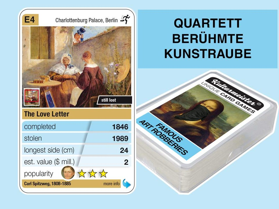 cardgame famous art robberies: playing card E4 with facts to the art robbery of Carl Spitzweg: The Love Letter (1846)