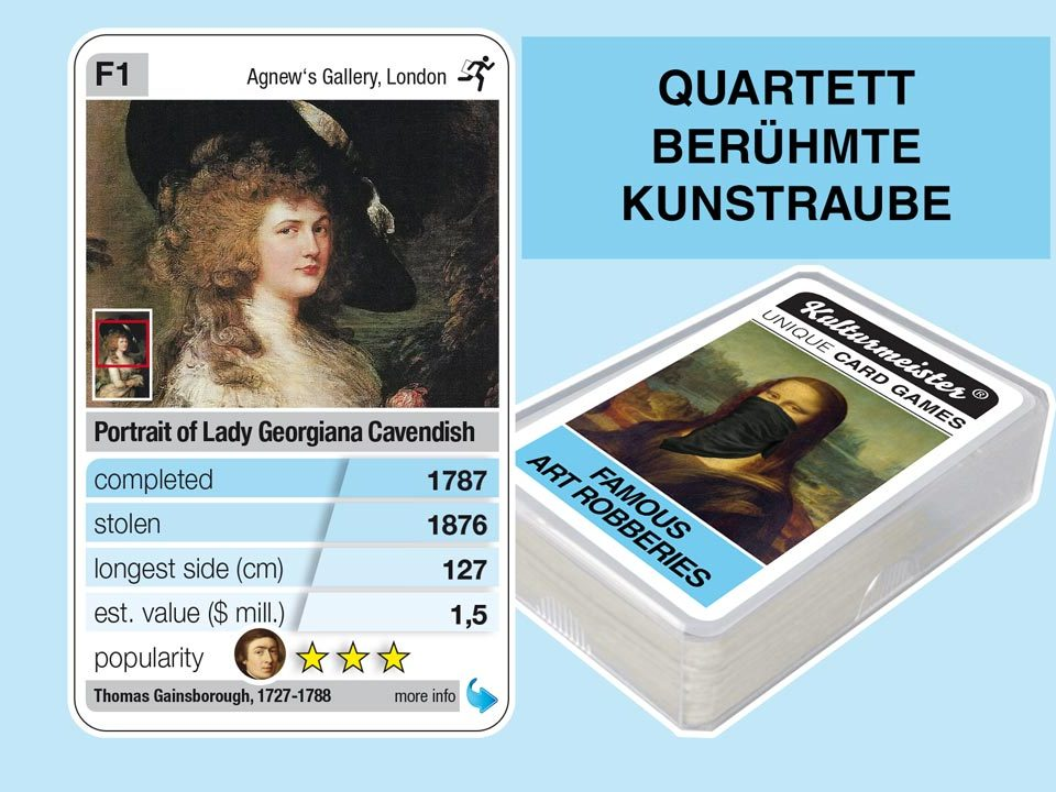 cardgame famous art robberies: playing card F1 with facts to the art robbery of Gainsborough: Portrait Lady Cavendish (1787)