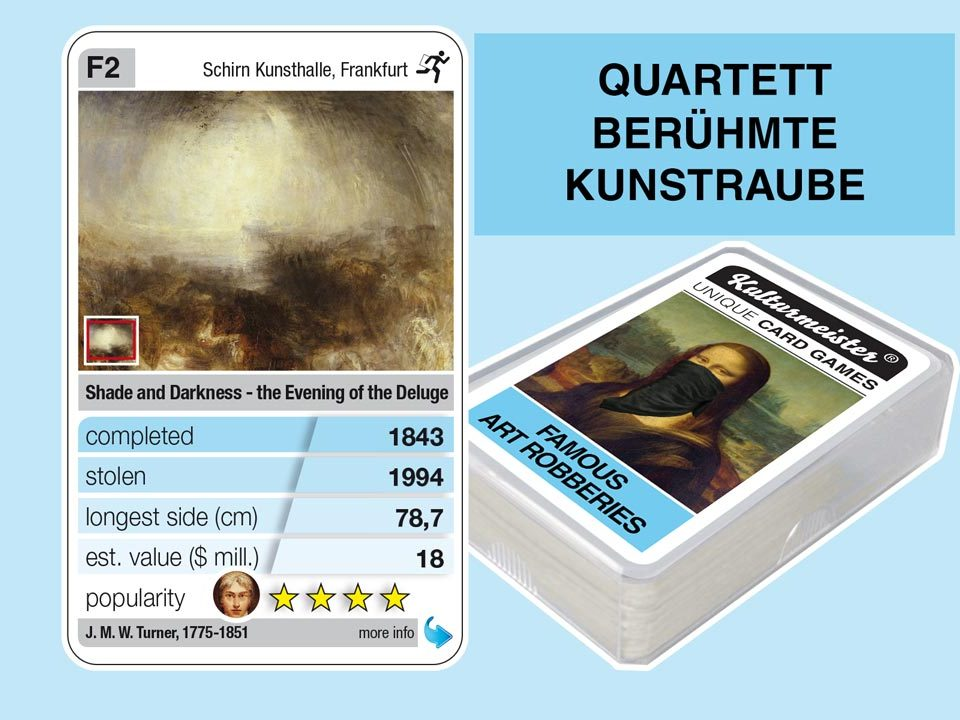 cardgame famous art robberies: playing card F2 with facts to the art robbery of J. M. W. Turner: Shadow and Darkness (1843)