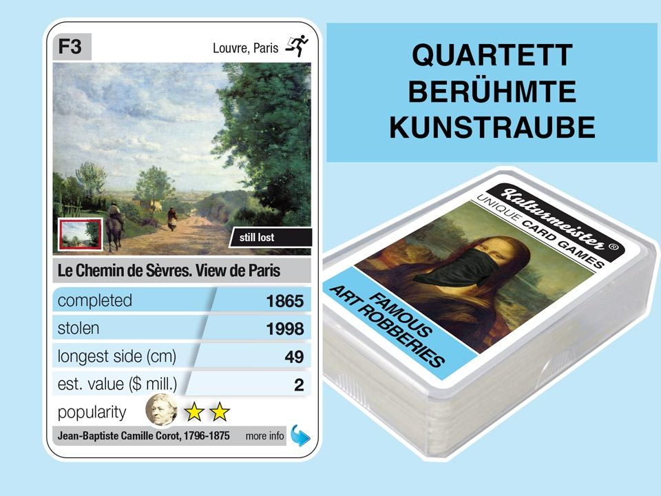 cardgame famous art robberies: playing card F3 with facts to the art robbery of Camille Corot: Le Chemin de Sèvres (1865)