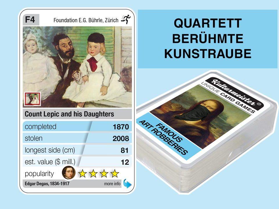 Quartettspiel Berühmte Kunstraube: Spielkarte F4 mit Daten und Fakten zum Kunstraub Edgar Degas: Portrait des Grafen Lepic (1870)