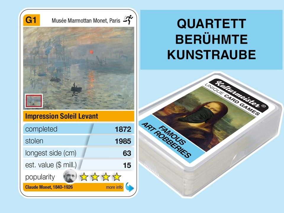 cardgame famous art robberies: playing card G1 with facts to the art robbery of Claude Monet: Impression, Sunrise (1872)