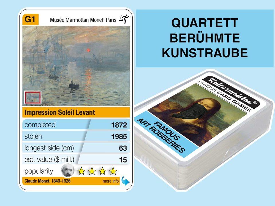 Quartettspiel Berühmte Kunstraube: Spielkarte G1 mit Daten und Fakten zum Kunstraub Claude Monet: Impression, Sonnenaufgang (1872)