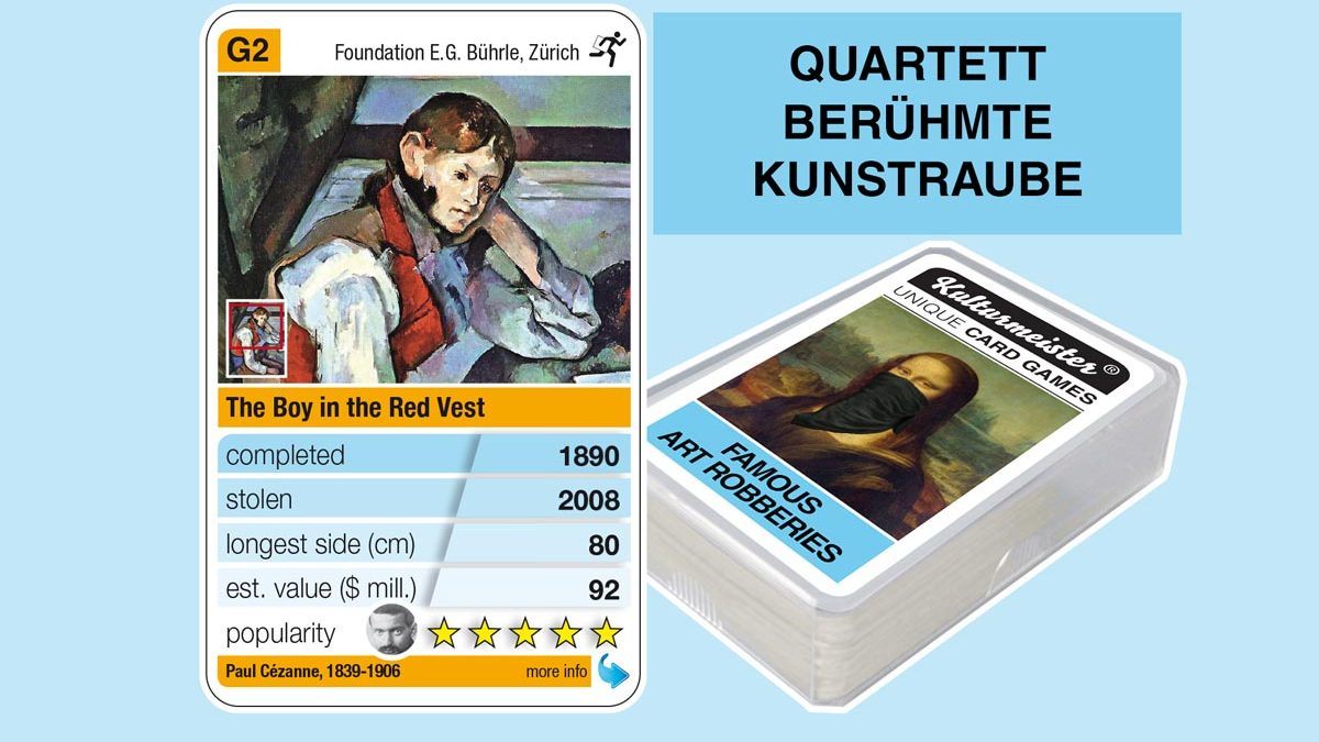 cardgame famous art robberies: playing card G2 with facts to the art robbery of Paul Cézanne: The boy in the red vest (1890)