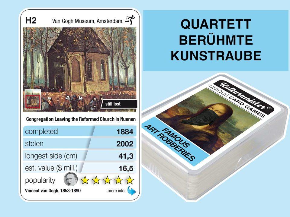 Quartettspiel Berühmte Kunstraube: Spielkarte H2 mit Daten und Fakten zum Kunstraub Van Gogh: Die Kirche von Nuenen (1884)